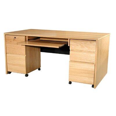 Rush Furniture Modular Real Oak Wood Veneer Computer Desk with Mobile Pedestals