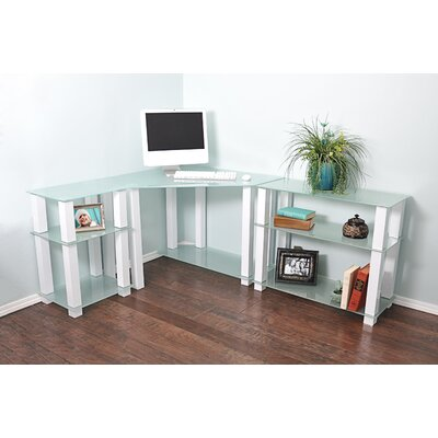 Wade Logan Hector Corner Corner Computer Desk with Left and Right Extension Table
