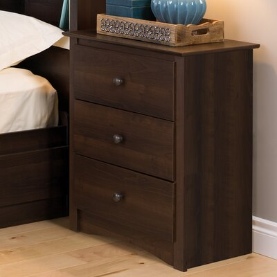 Prepac Fremont Tall Espresso 3 Drawer Nightstand