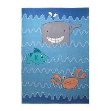 Handgetufteter Teppich Sealife in Blau