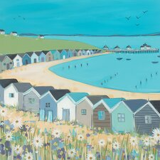 Beach Huts by Janet Bell Art Print on Canvas