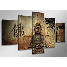 Buddha 5 Piece Photographic Print Wrapped on Canvas Set