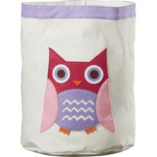 Round toy storage bin with owl design