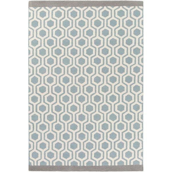 Joan Gray & Aqua Geometric Wool Hand-Tufted Area Rug
