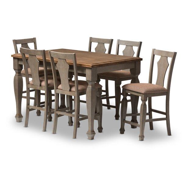 Baxton studio martina 7 piece counter height dining set for 7 piece dining room set counter height