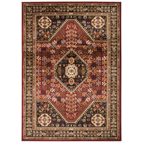 Leland Red and Black Area Rug & Reviews