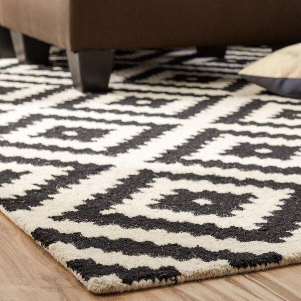 Kelly Black Amp Cream Geometric Wool Hand Tufted Area Rug