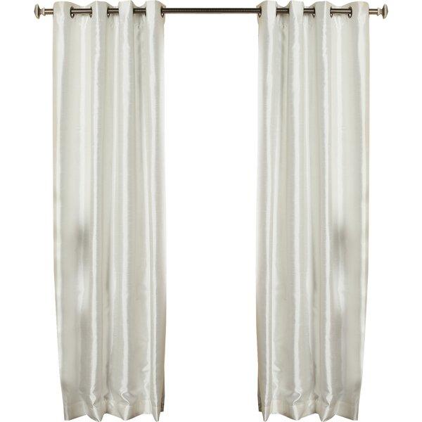 faux silk blackout grommet curtain panel in ivory joss