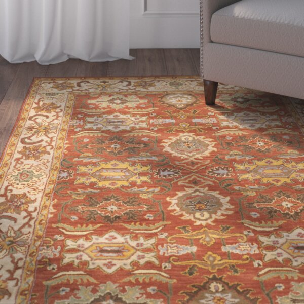 Lucinda Rust & Beige Oriental Wool Hand-Tufted Area Rug