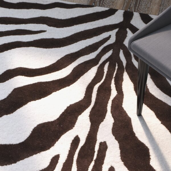 Sandra Ivory & Brown Animal Print Wool Hand-Tufted Area