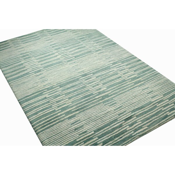 Costello Aqua Geometric Wool Hand-Tufted Area Rug