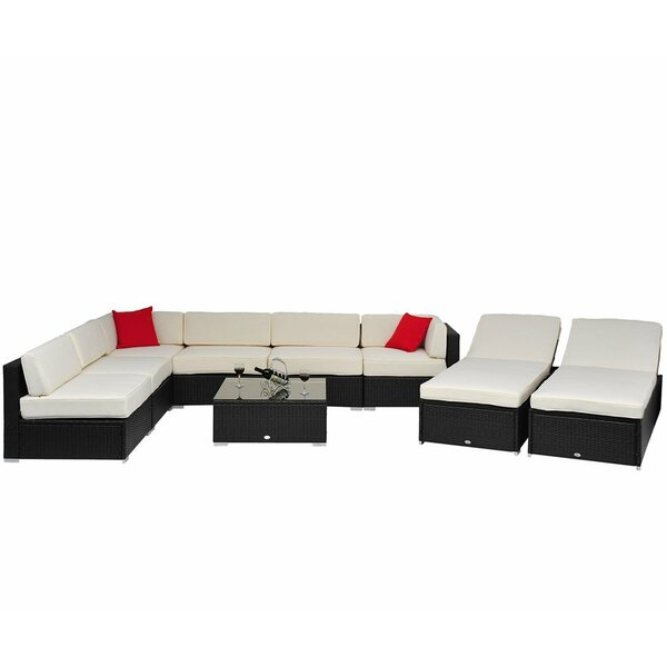 9 piece ariela patio seating group reviews joss main for Ariel chaise lounge