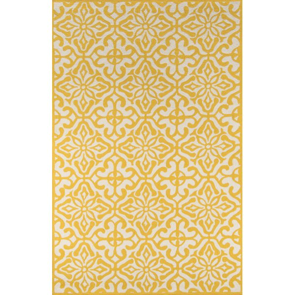 quincy yellow white outdoor area rug joss main. Black Bedroom Furniture Sets. Home Design Ideas