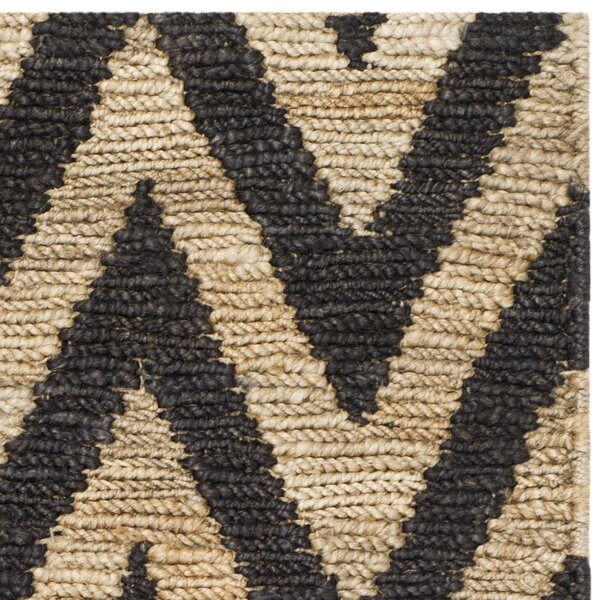 aruba black tan chevron jute hand knotted area rug. Black Bedroom Furniture Sets. Home Design Ideas