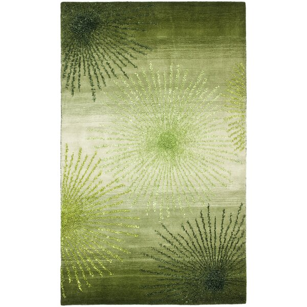 Halle green floral wool hand tufted area rug reviews for Chaise longue halle