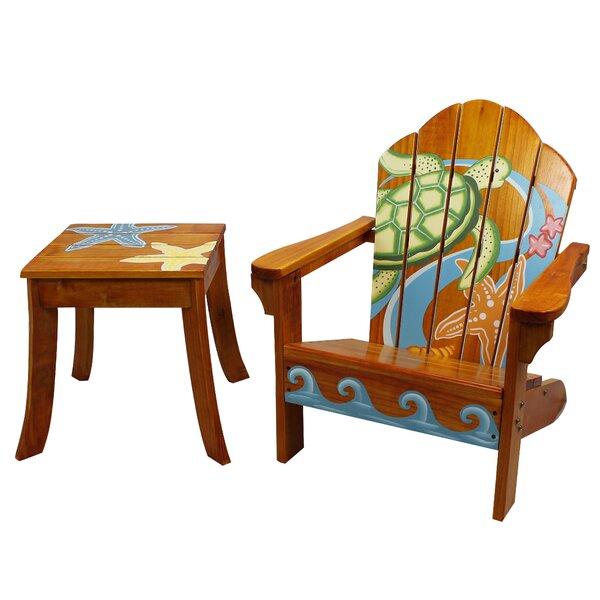 Winnie Sea Turtle Outdoor Wood Table & Chair Set  Joss & Main