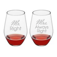 Mr. & Mrs. Always Right Stemless 19 oz. Wine Glass (Set of 2)
