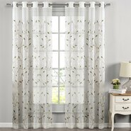 Wavy Leaves Embroidered Sheer Grommet Single Curtain Panel