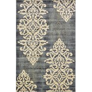 Damask Blue Area Rug