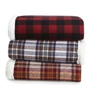 Edgewood Plaid Flannel Sherpa Throw Blanket