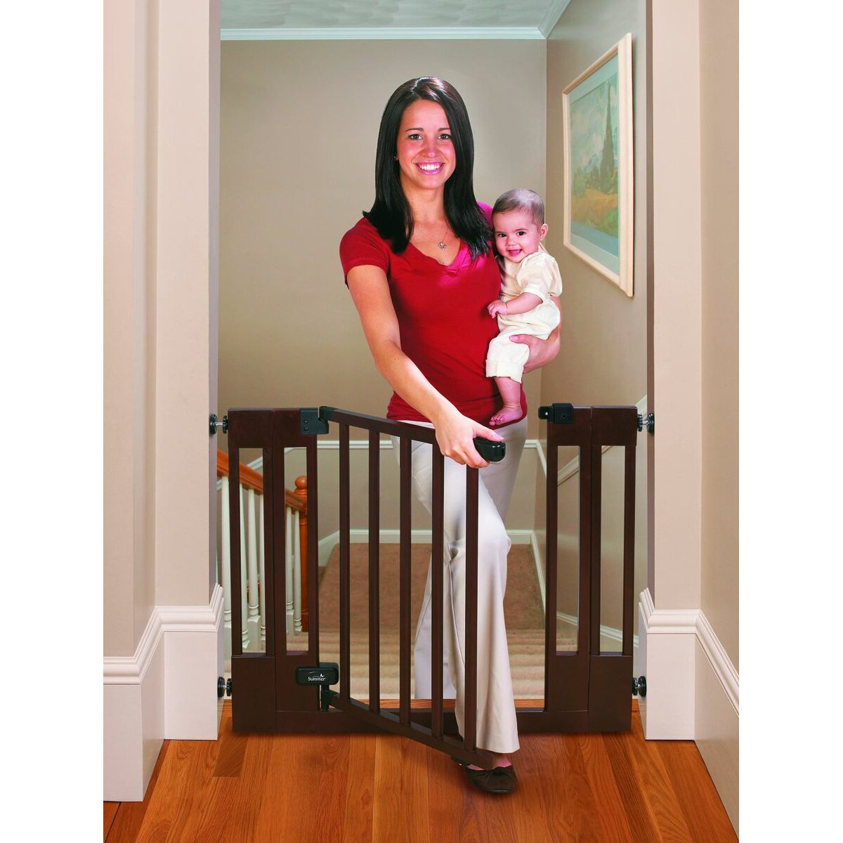 ... and Secure Deluxe Top Of Stairs Wood Walk-Thru Gate by Summer Infant