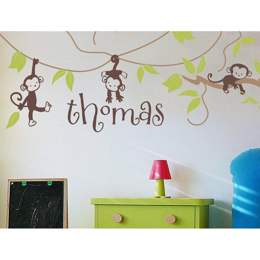 alphabet garden designs monkey vines personalized wall