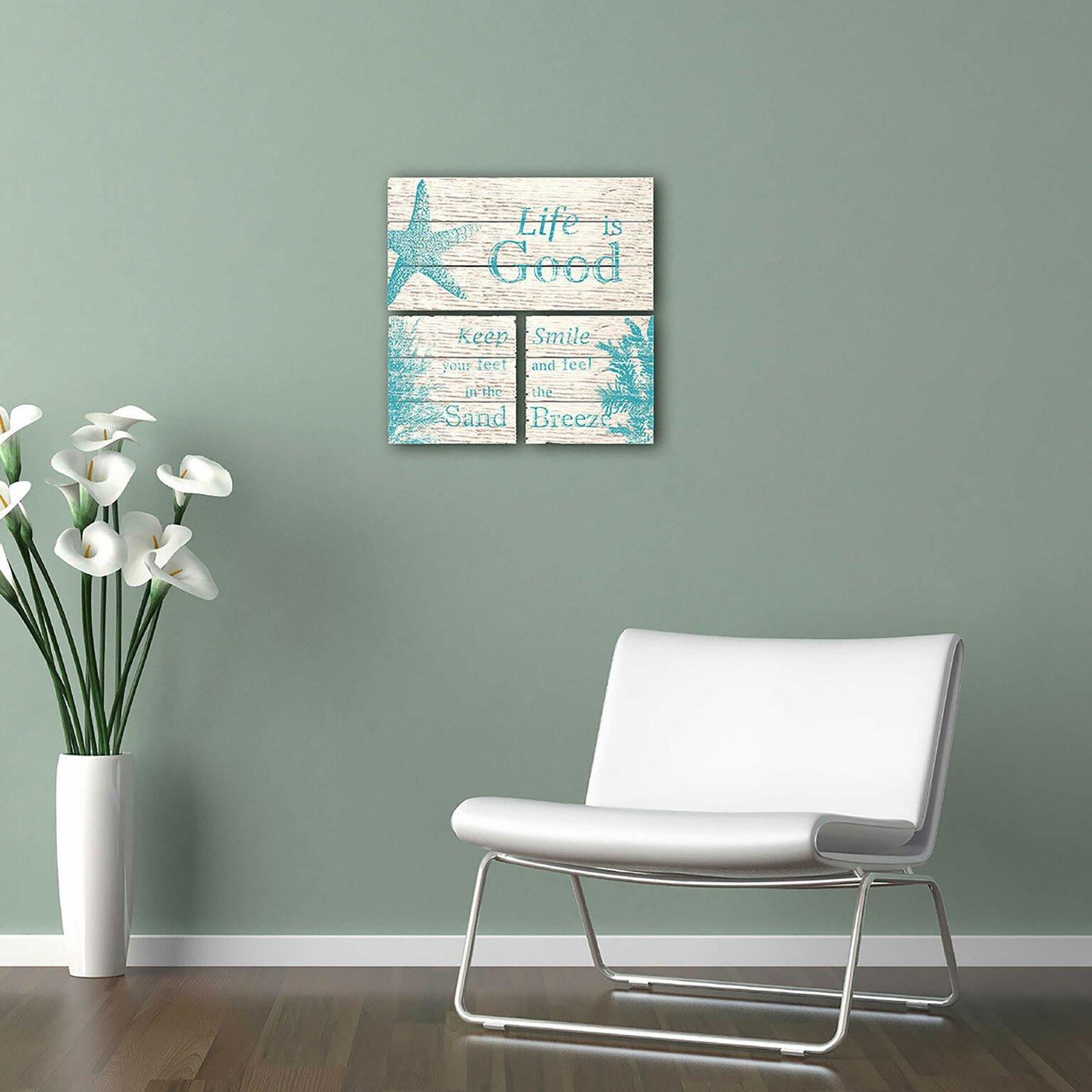 ptm images life is good 3 piece wall decor set reviews. Black Bedroom Furniture Sets. Home Design Ideas