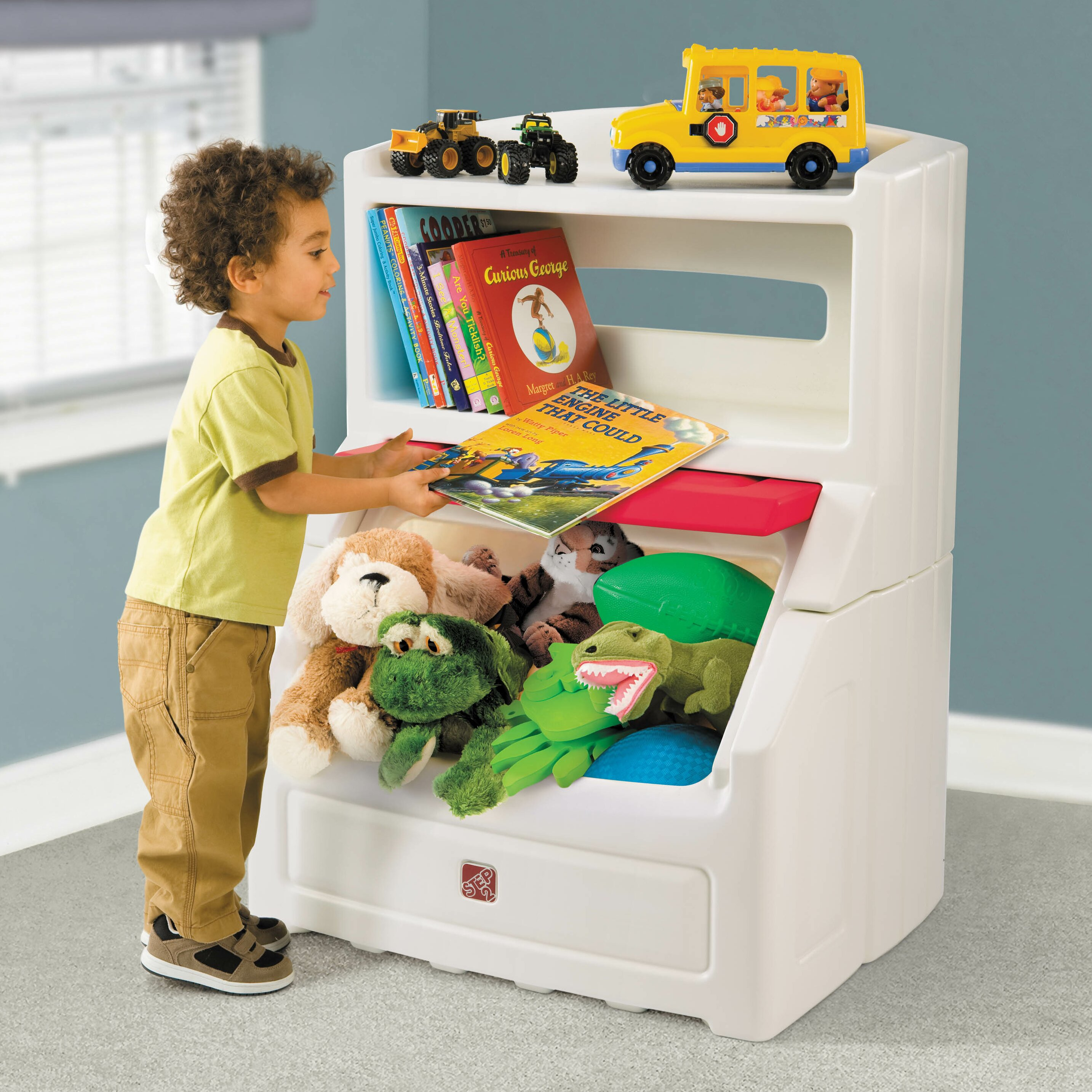 step2 lift and hide bookcase toy box with lid reviews wayfair. Black Bedroom Furniture Sets. Home Design Ideas