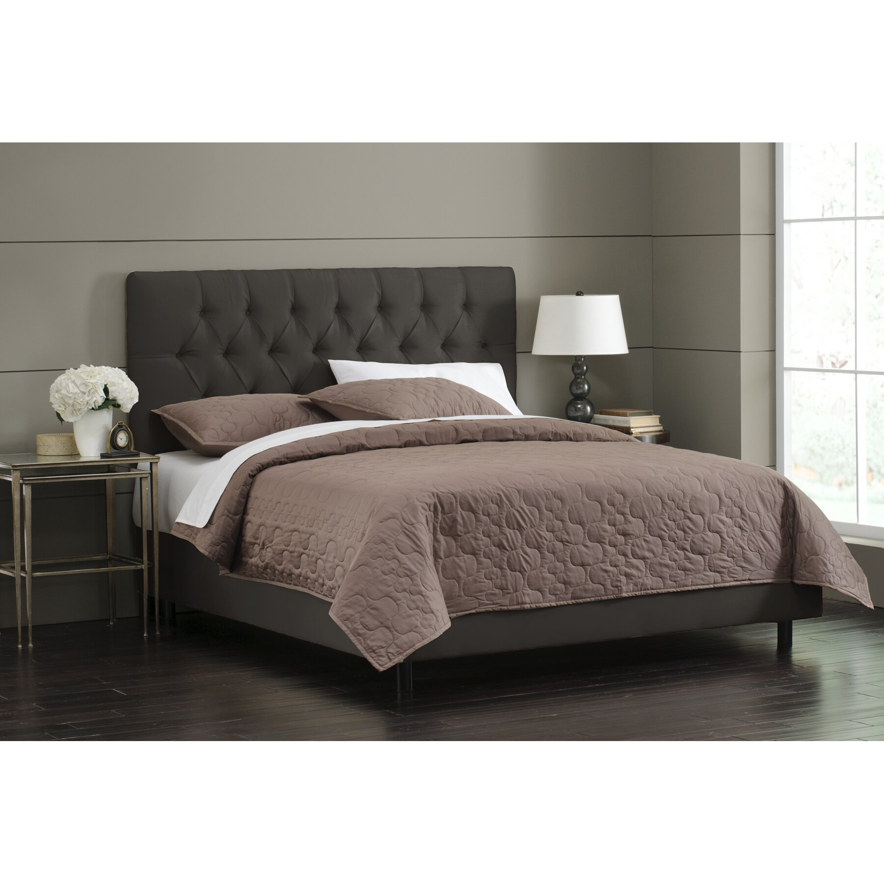 Skyline furniture upholstered panel bed reviews wayfair for Bedroom set and mattress