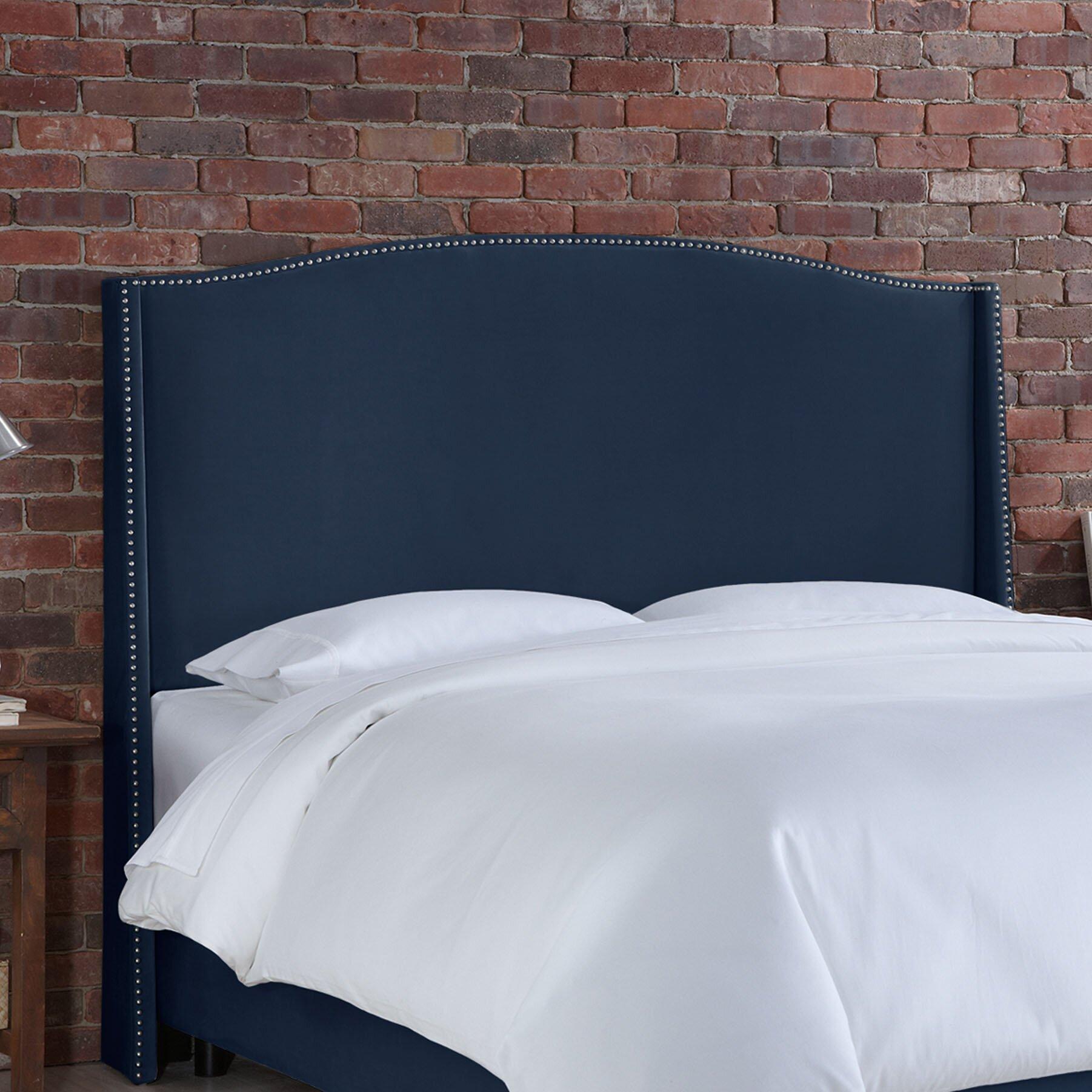 Skyline Furniture Nail Button Velvet Wingback Upholstered Headboard Reviews Wayfair