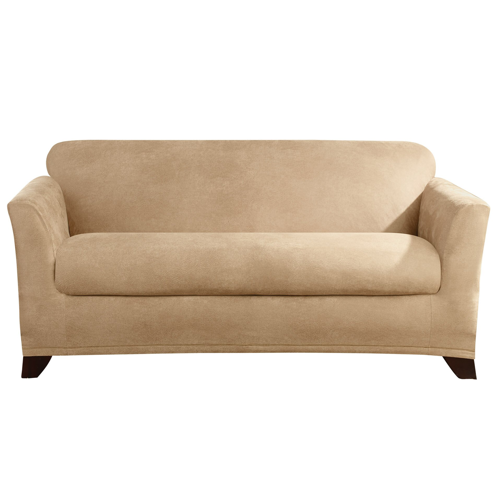 Sure fit stretch leather loveseat slipcover wayfair Loveseat stretch slipcovers