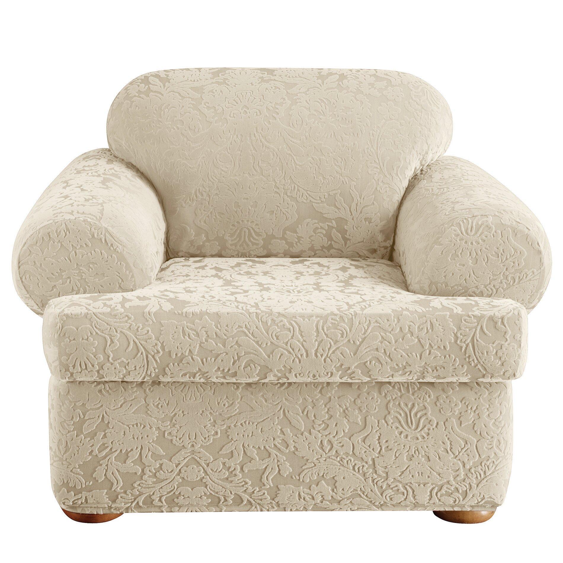 Sure Fit Stretch Jacquard Damask Armchair T Cushion