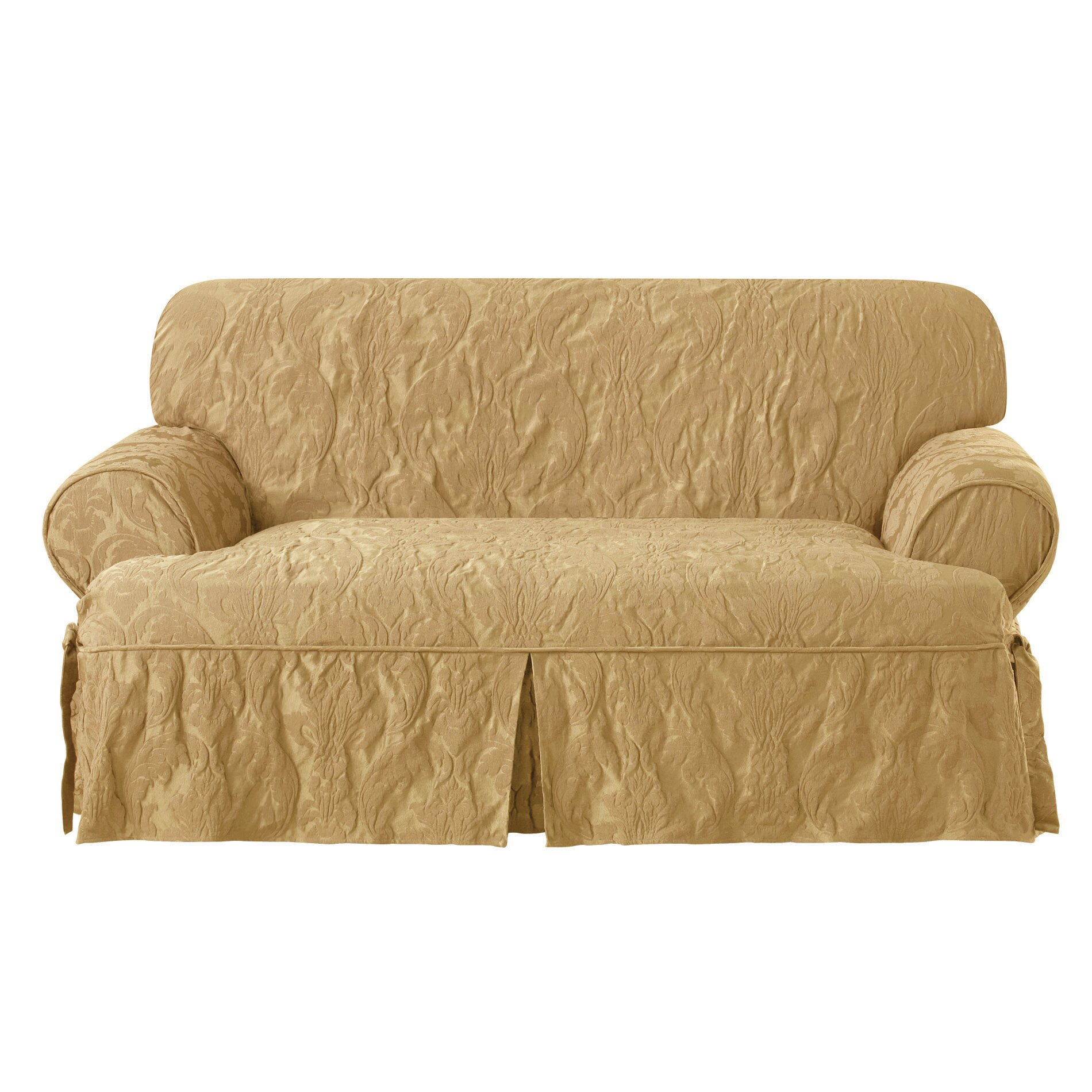 Sure fit t cushion loveseat slipcovers sure fit matelasse damask loveseat t cushion slipcover Loveseat cushion covers