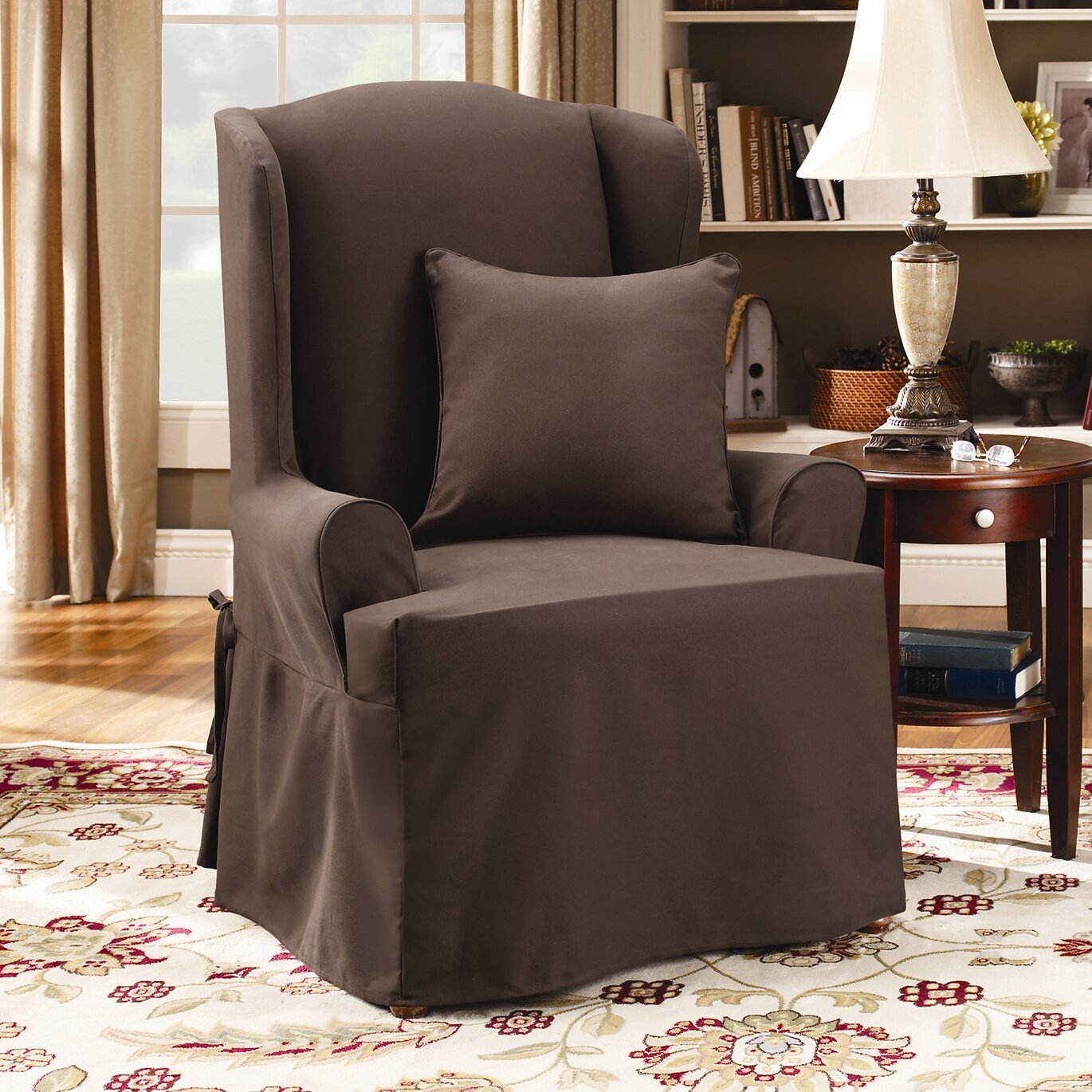 Sure Fit Twill Supreme Wing Chair Slipcover & Reviews