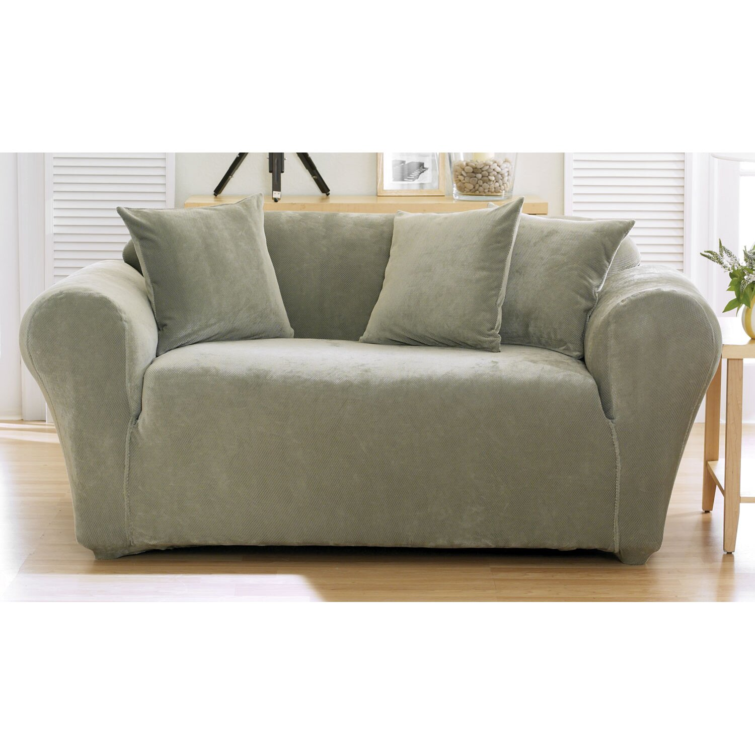 Sure fit stretch pique separate seat loveseat slipcover reviews Loveseat stretch slipcovers