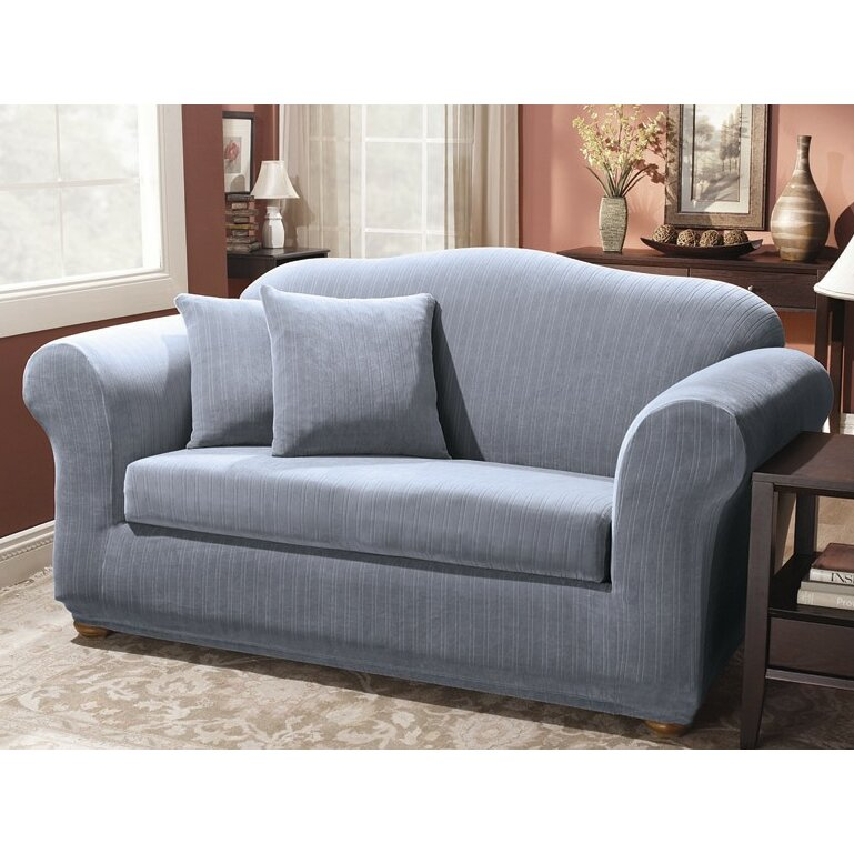 Sure Fit Stretch Pinstripe Two Piece Loveseat Slipcover Reviews Wayfair