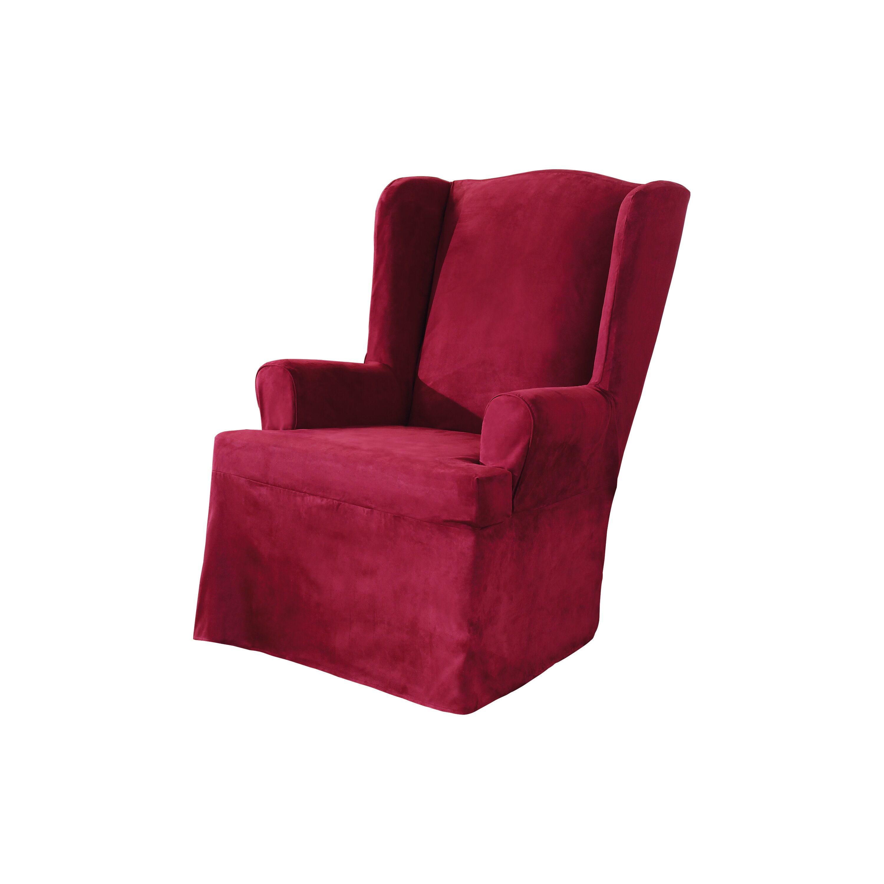 Sure Fit Soft Suede Wing Chair Slipcover Reviews Wayfair
