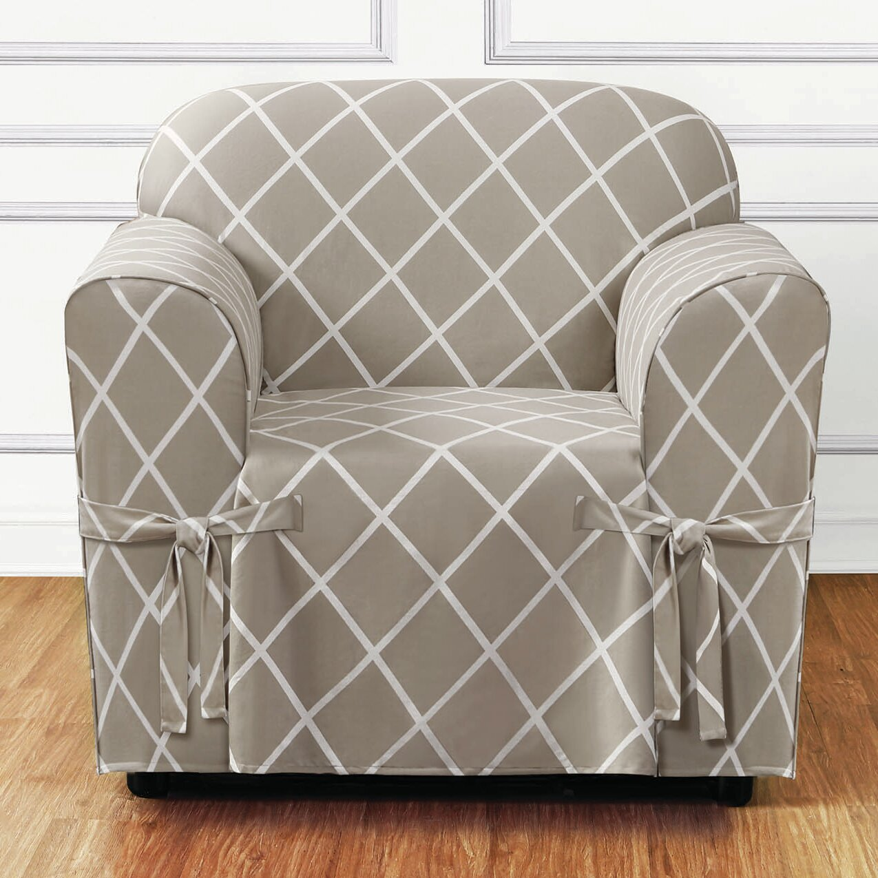 sure fit lattice armchair slipcover amp reviews wayfair purity arm chair slipcover
