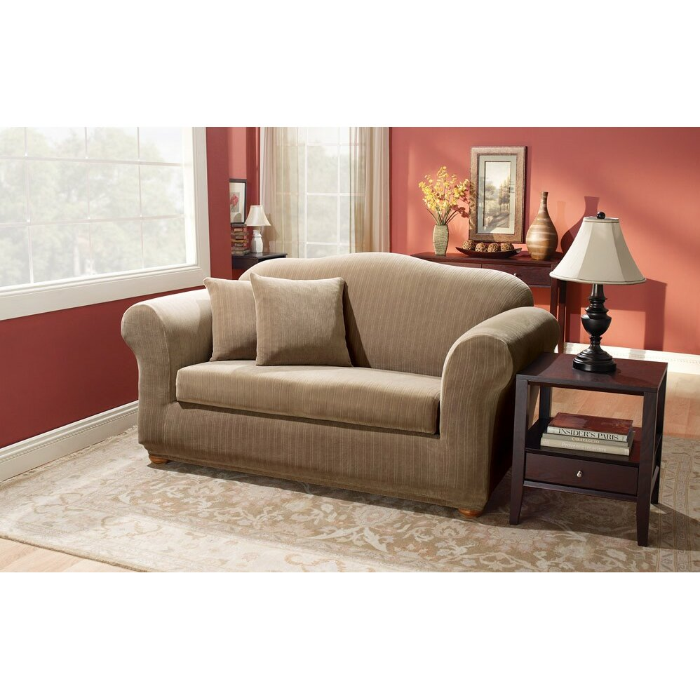 Sure fit stretch pinstripe two piece loveseat slipcover reviews wayfair Loveseat stretch slipcovers