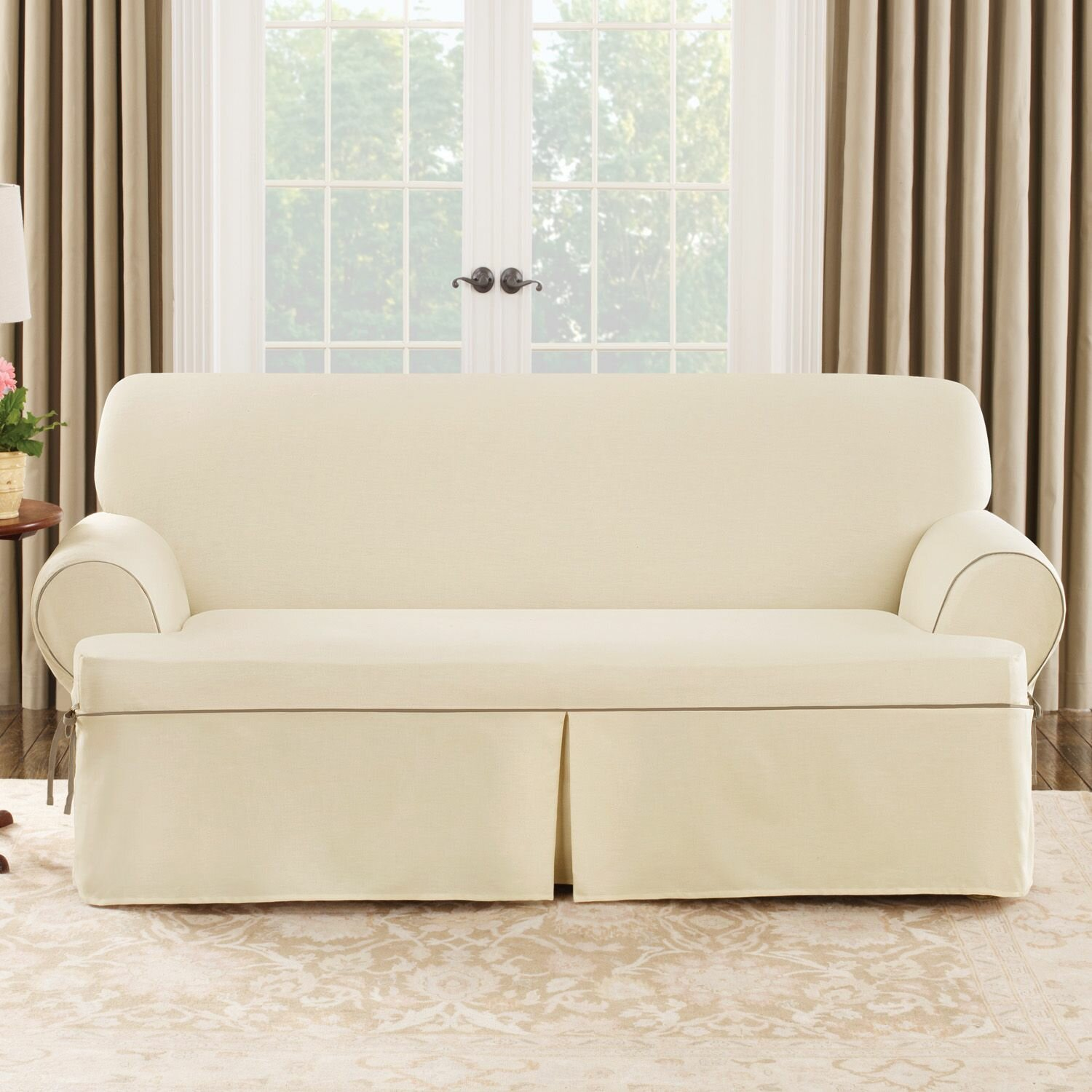 Slipcover Sofa Set: Sure Fit Cotton Duck Sofa T-Cushion Slipcover & Reviews