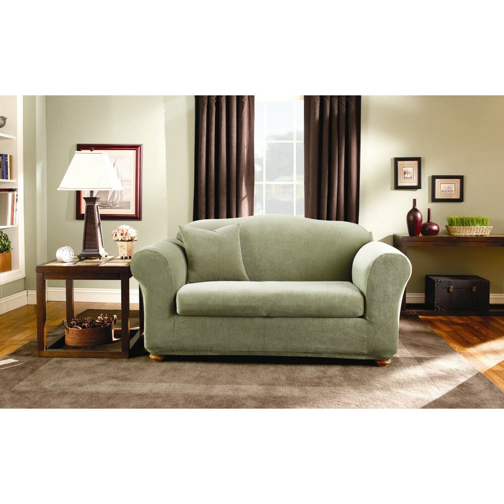Sure fit stretch stripe loveseat slipcover reviews wayfair Loveseat stretch slipcovers