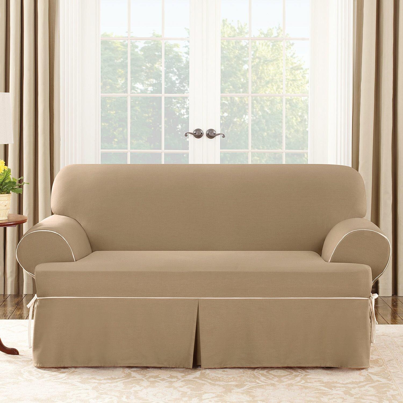sure fit cotton duck loveseat t cushion slipcover. Black Bedroom Furniture Sets. Home Design Ideas