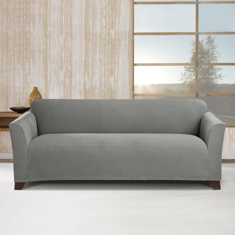Sure fit simple stretch subway sofa box cushion slipcover for Sure fit stretch sofa cover
