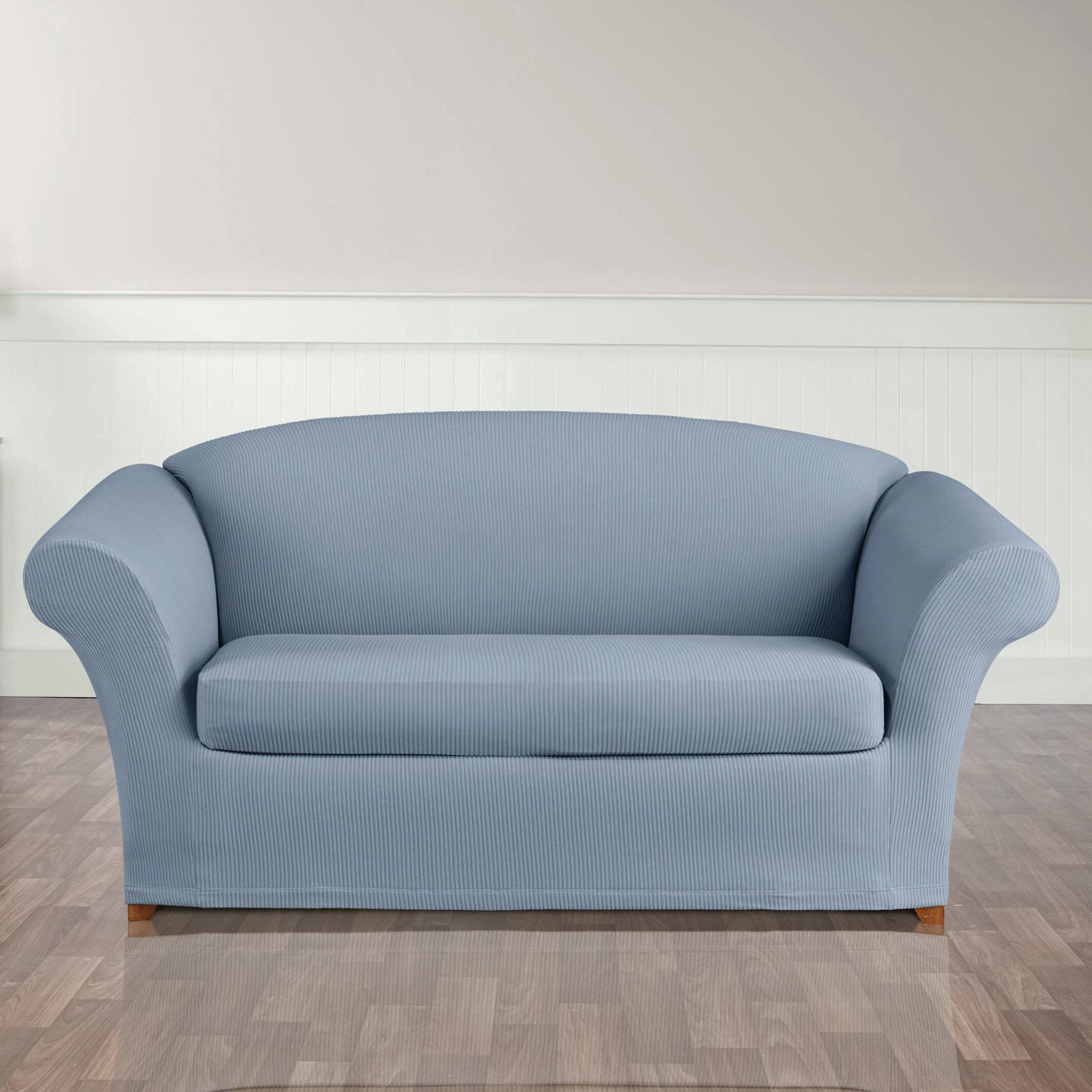 Sure Fit Stretch Seersucker Loveseat T Cushion Seperate Seat Slipcover Reviews Wayfair