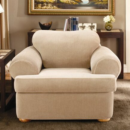 Sure Fit Stretch Stripe Armchair T-Cushion Slipcover ...