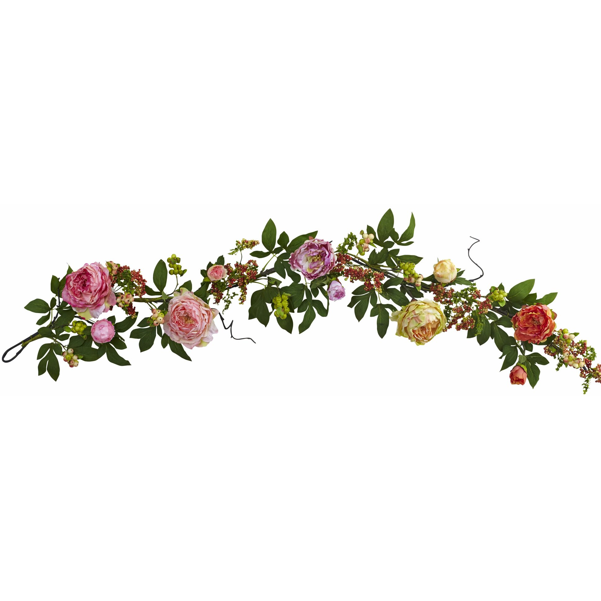 Flower Garland: Nearly Natural Mixed Peony And Berry Garland & Reviews