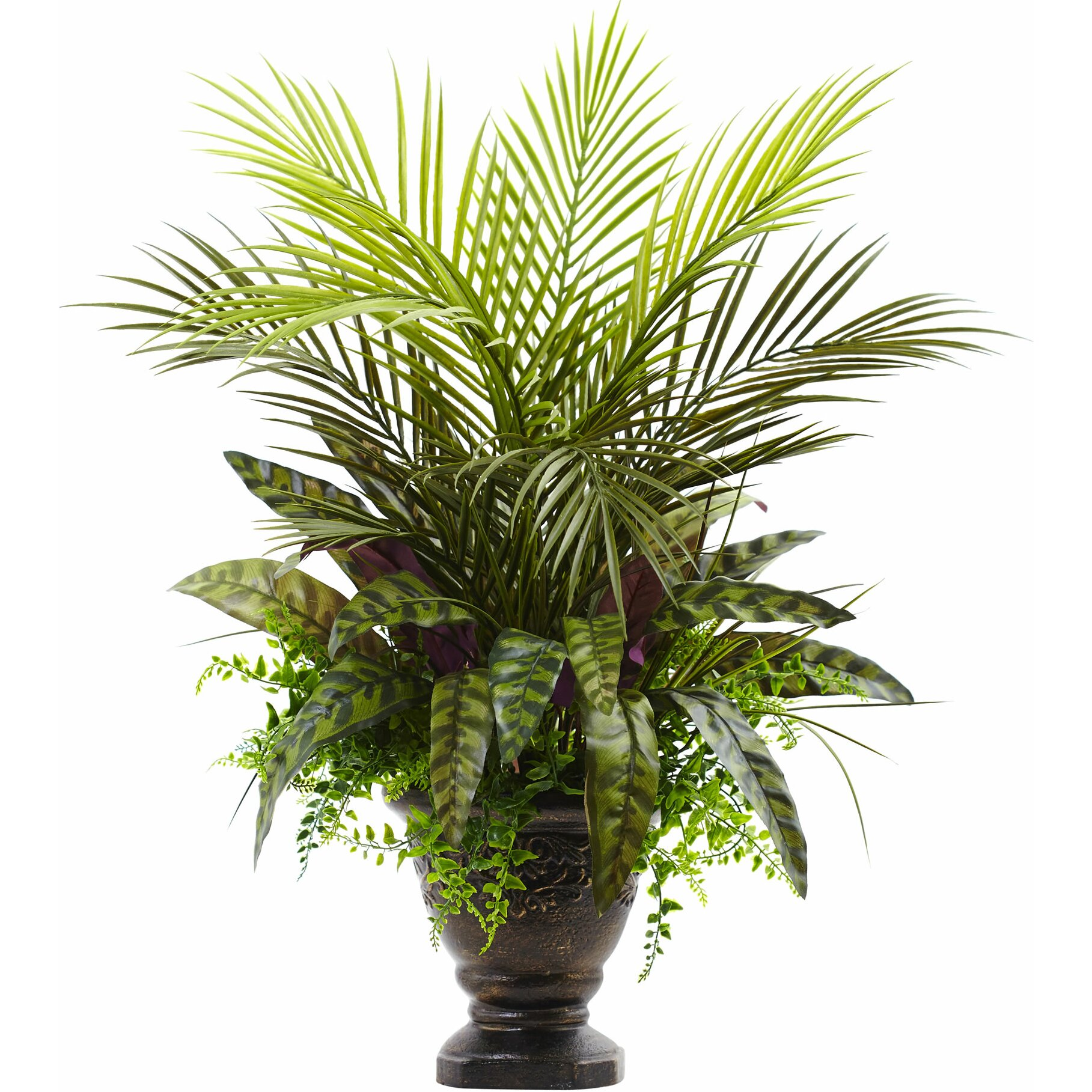 nearly natural mixed areca palm fern and peacock plant in