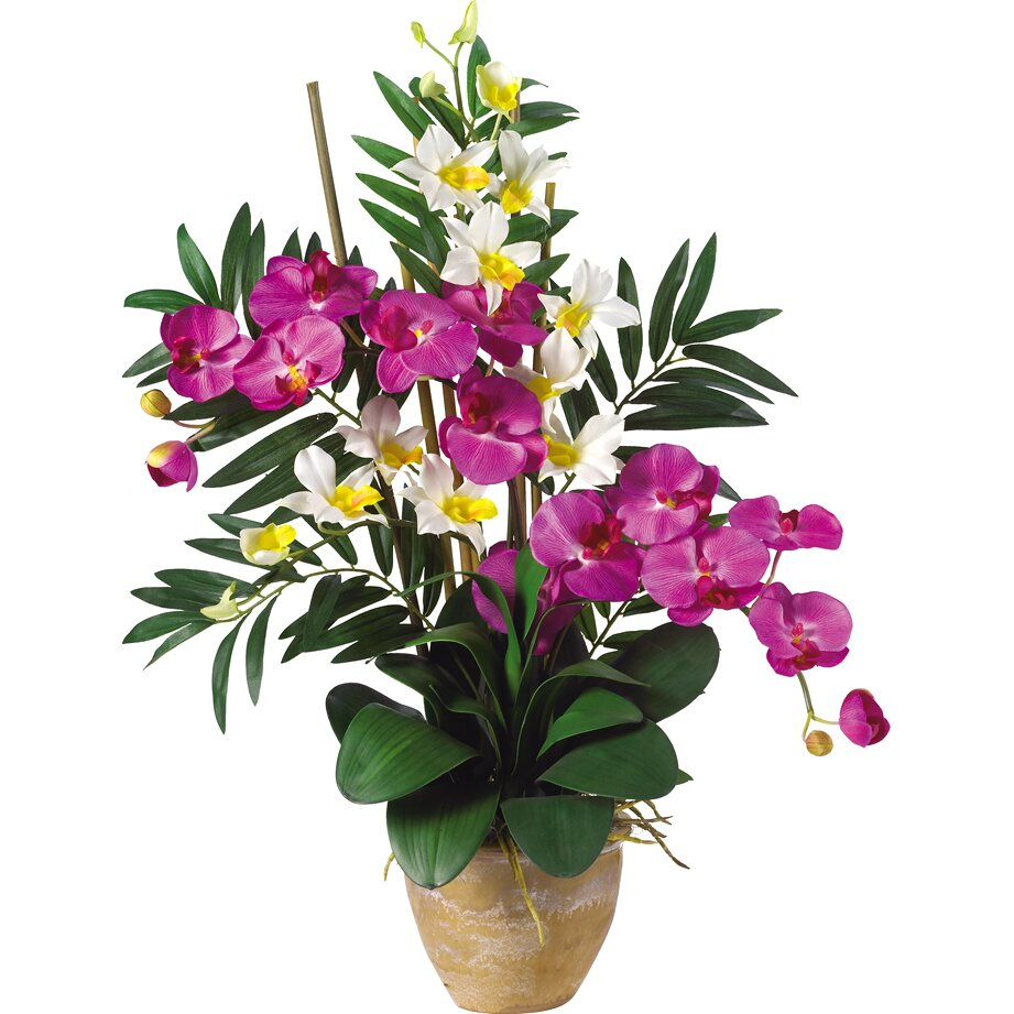 Nearly natural double phalaenopsis and dendrobium silk Christmas orchid arrangements