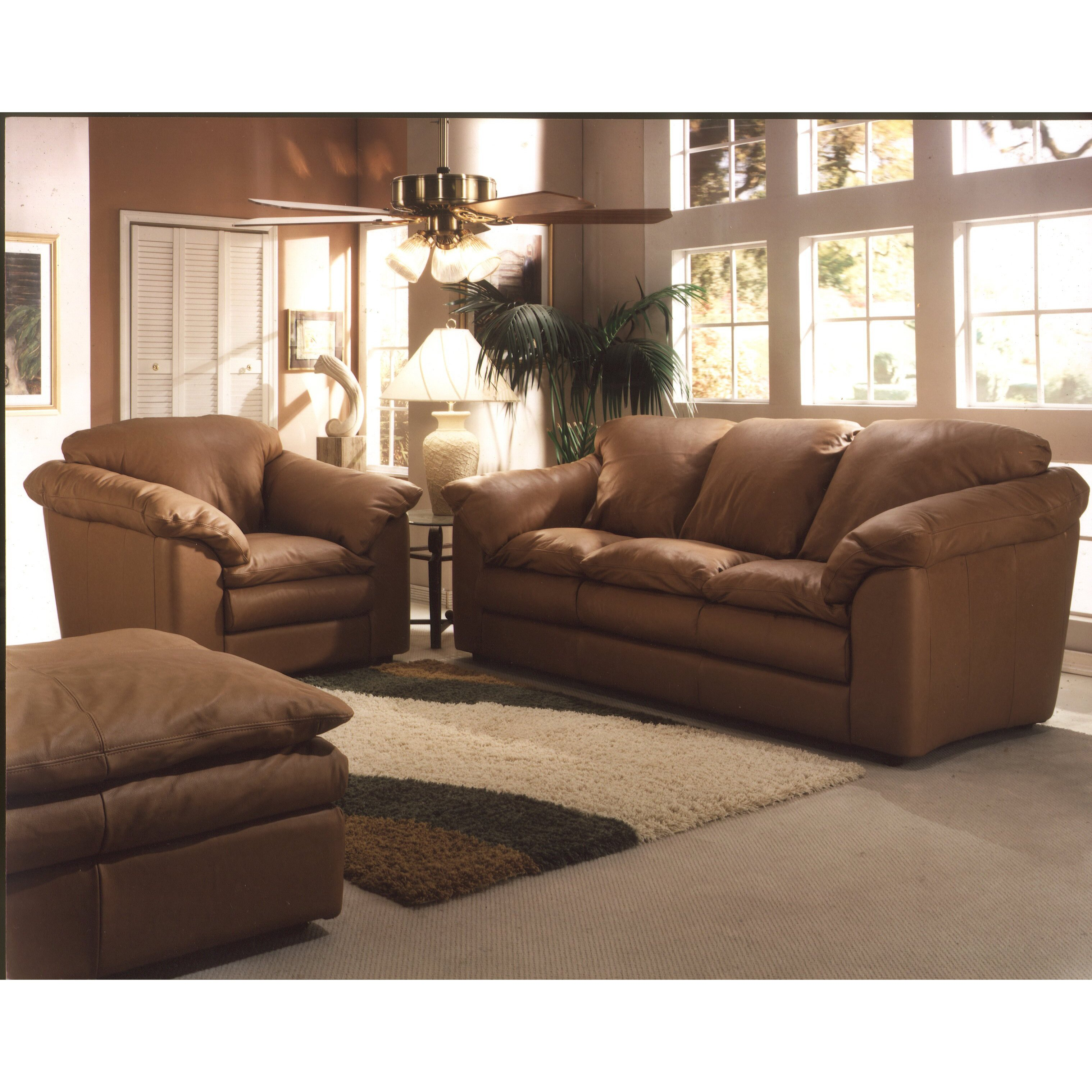 Omnia Leather Oregon 3 Seat Leather Living Room Set