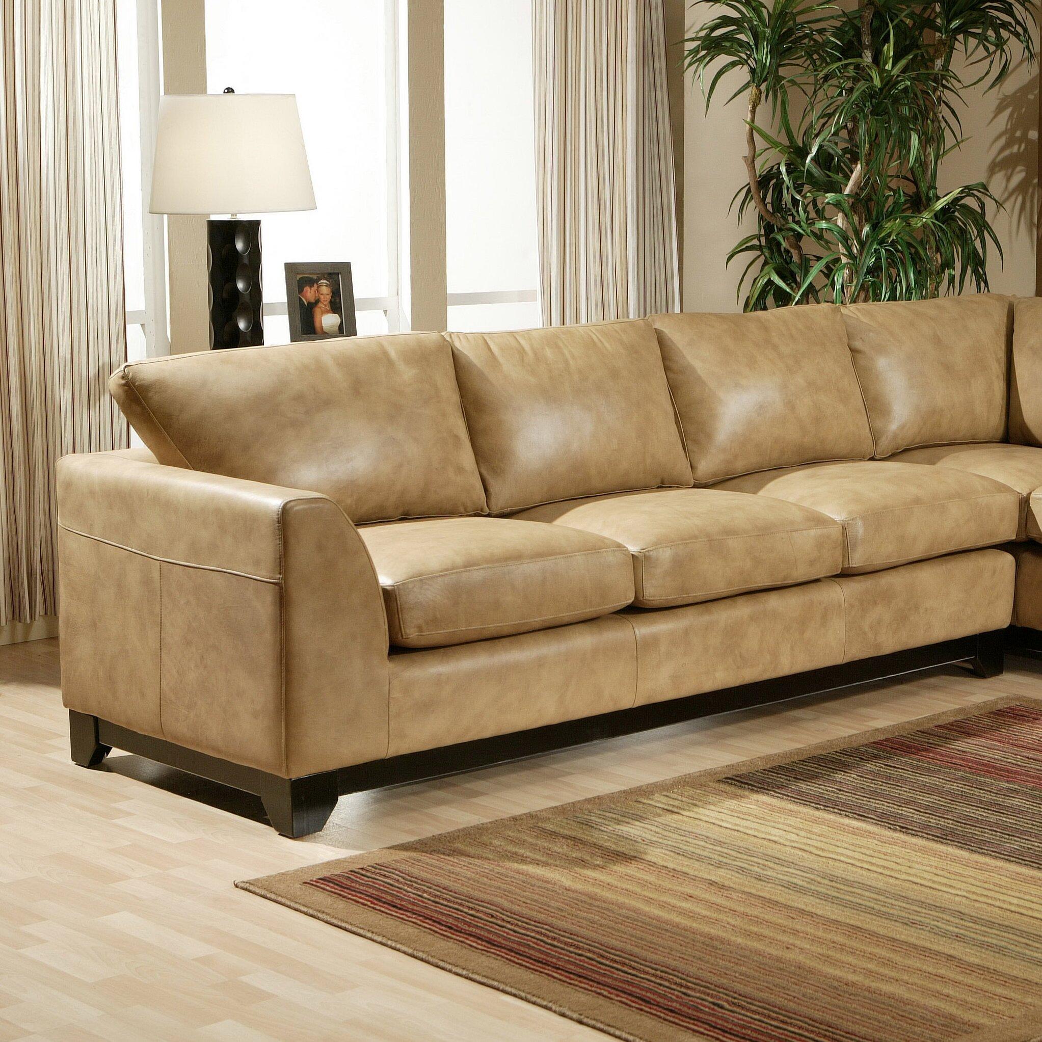 Omnia Leather City Sleek Leather Sofa Wayfair